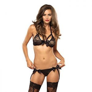 Leg Avenue Lace Bra & Garter G-String in Black