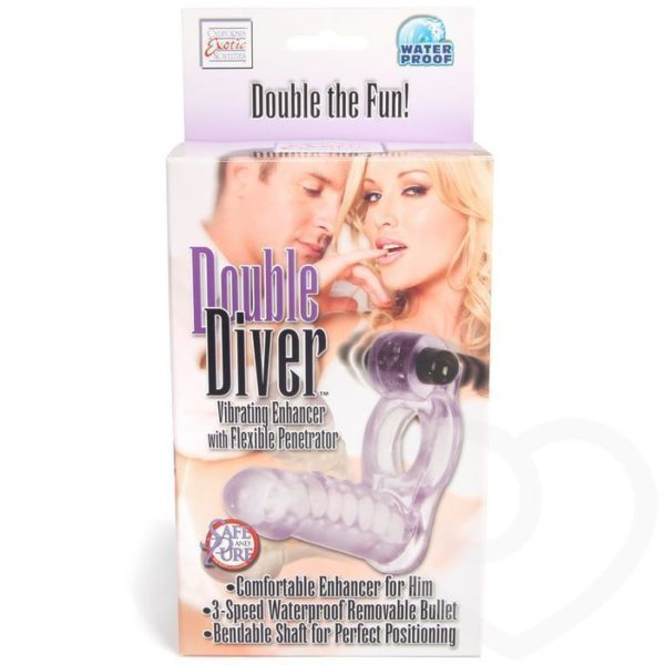 California Exotic Novelties Double Diver – Double Penetration Strap-On Vibrating Cock Ring