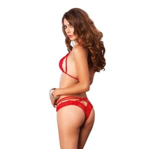 Leg Avenue 2Pc. Strappy Lace Halter Bra Top And Peek-A-Boo Brazilian Panty
