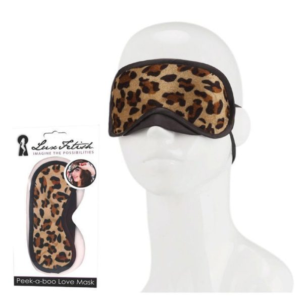 Lux Fetish Peek-a-boo Love Mask in Leopard