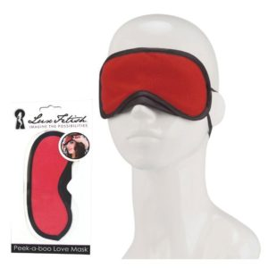 Lux Fetish Peek-a-boo Love Mask in Red
