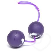 Seven Creations Oscillating Textured Duo Ben Wa Balls in Purple-White