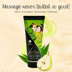 Shunga Kissable Massage Creams 200ml 7fl.oz in Pear & Exotic Green Tea