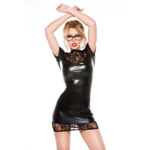 Kitten Lace and Wet Look Dress 4 Way Stretch