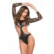 Kitten Lace and Wet Look Full Sleeve Teddy