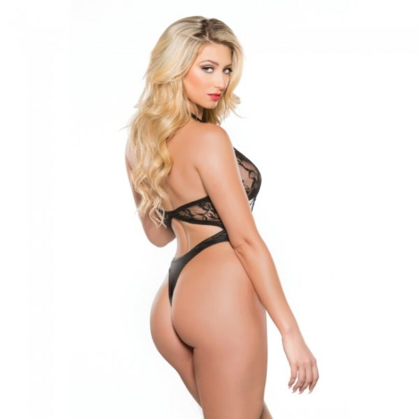 Lace and Wet Look Halter Teddy