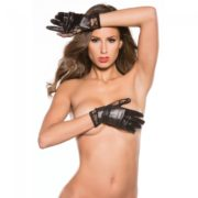 Kitten Lace and Wet Look Short Gloves
