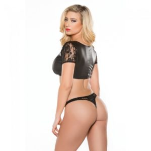 Lace and Wet Look Top and Thong Set