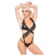 Naughty by Allure Lingerie Naughty by Allure Lingerie Faux Leather Wrap Teddy