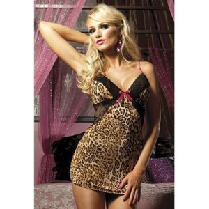 Seven 'til Midnight Tame My Heart Chemise & Thong in Leopard