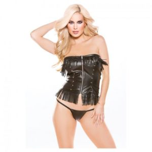 Naughty by Allure Lingerie Faux Leather Corset Top & G-String in Black