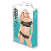 Naughty by Allure Lingerie Faux Leather Off Shoulder Top & G-String 2 Pc Set in Black