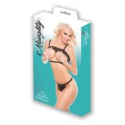 Naughty by Allure Lingerie Faux Leather Open Top & G-String 2 Pc Set in Black