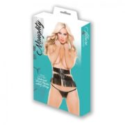 Naughty by Allure Lingerie Faux Leather Underbust Waist Cincher with G-String in Black