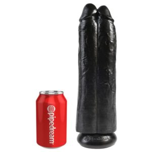 King Cock 11 Inch Two Cocks One Hole in Black