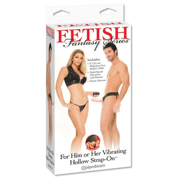 FETISH Fantasy Series For Him or Her Vibrating Hollow Strap-On in Flesh