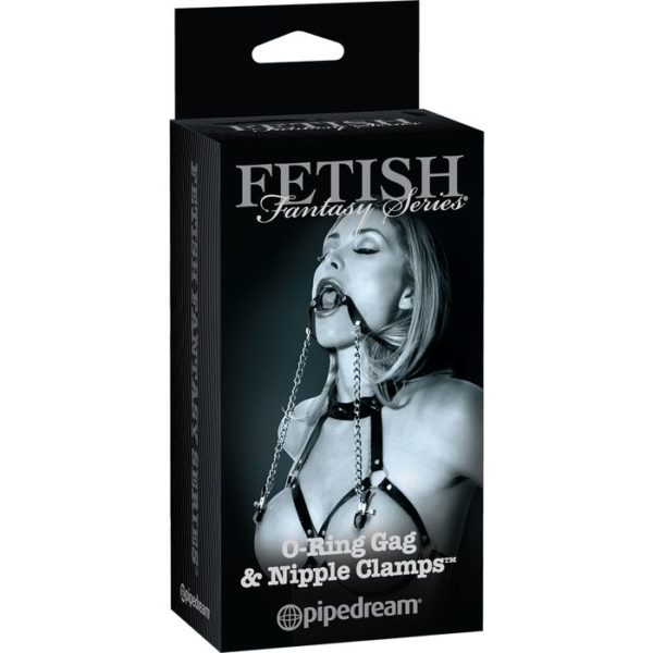 FETISH Fantasy Series Limited Edition O-Ring Gag & Nipple Clamps in Black