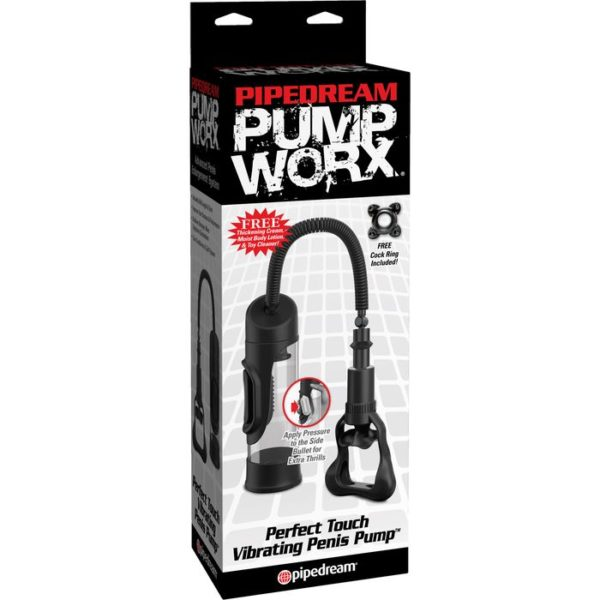 Perfect Touch Vibrating Penis Pump in Black by Pipedream Pump Worx